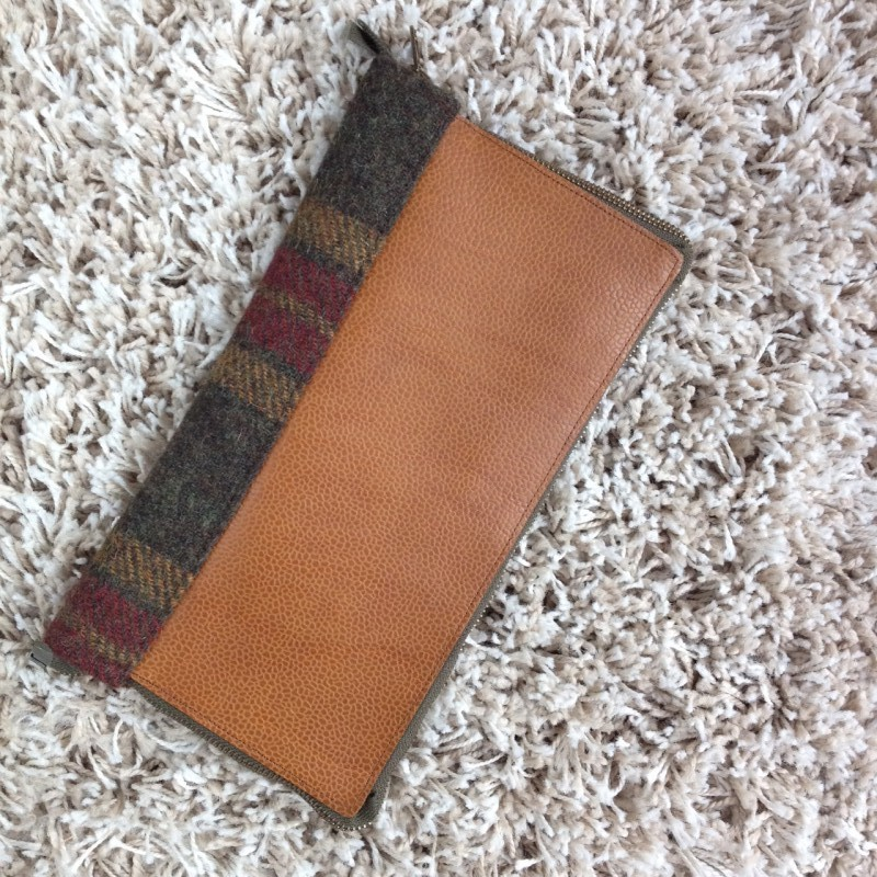 Leather and tweed DIY travel documents holder