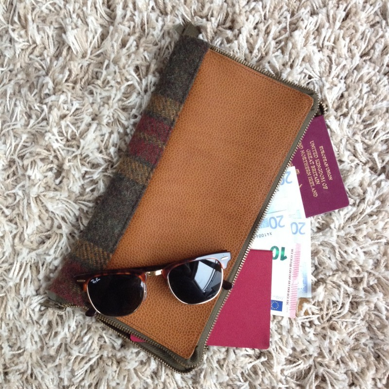 DIY Leather and Tweed travel documents holder