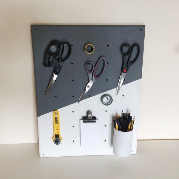 Make a DIY pegboard with a geometric colour block
