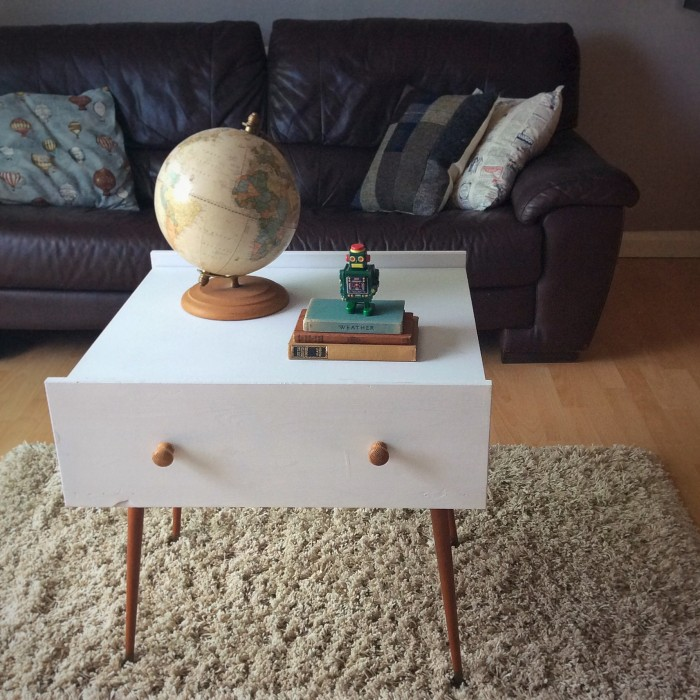 Upcycled coffee table from old drawers