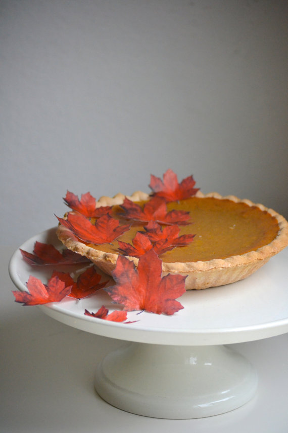 Edible handmade autumn maple leaves cake topper