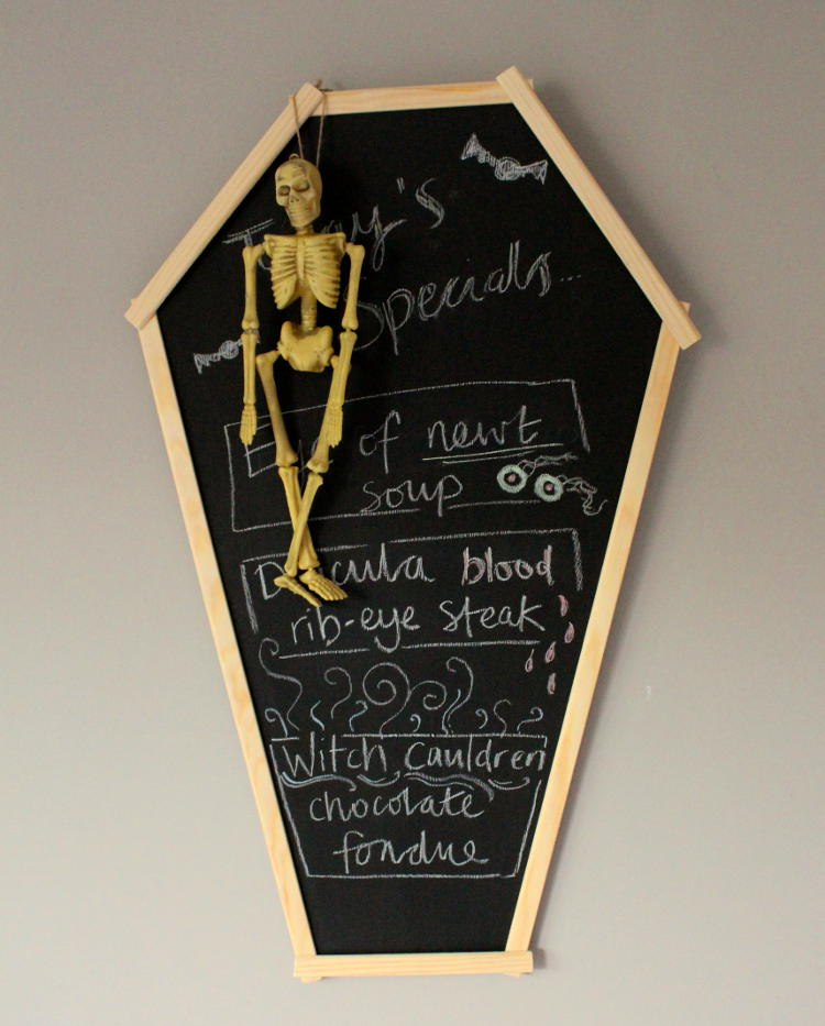 DIY coffin blackboard Halloween decoration