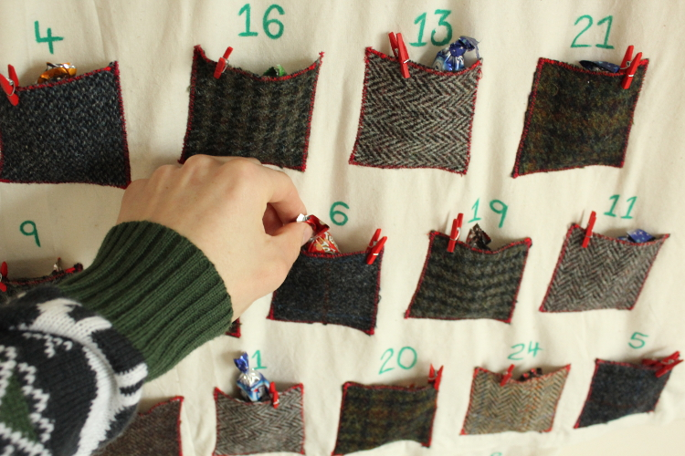 DIY tweed advent calendar