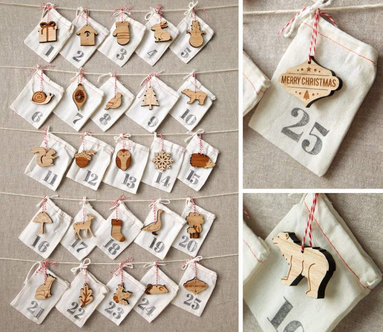Wood and fabric handmade advent calendar