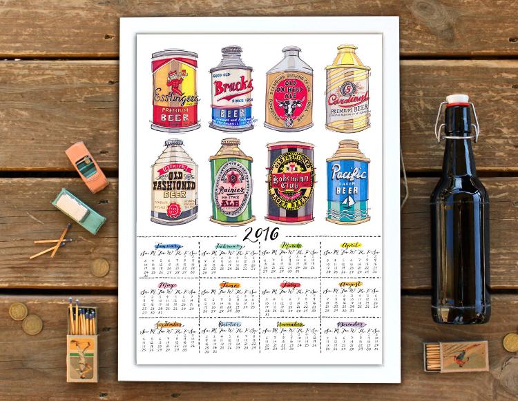 Vintage beer cans calendar