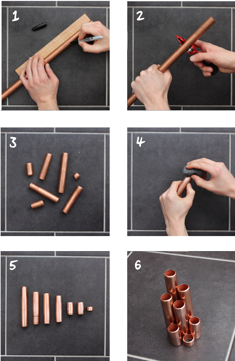 DIY Copper Pipe Desk Tidy tutorial steps 1 to 6 grid