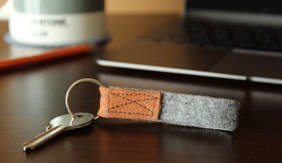 DIY key ring leather and felt tutorial