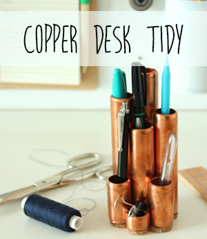 Copper pipe DIY desk tidy