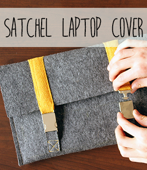 Satchel style laptop cover DIY felt and tweed