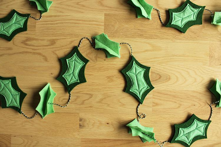 DIY felt holly leaf garland