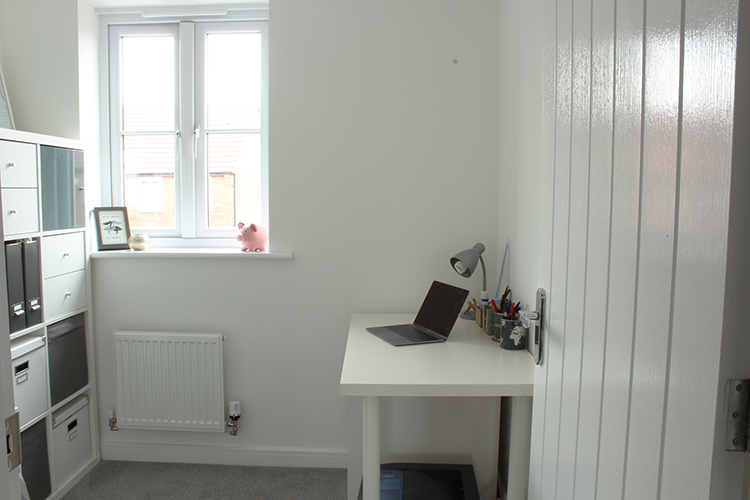 Bright white home office studio