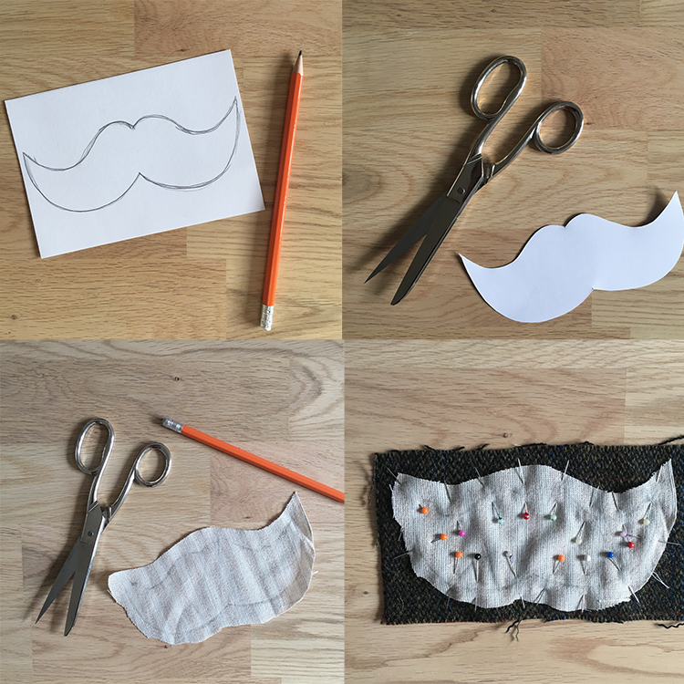 DIY tweed moustache handwarmer - tutorial 1
