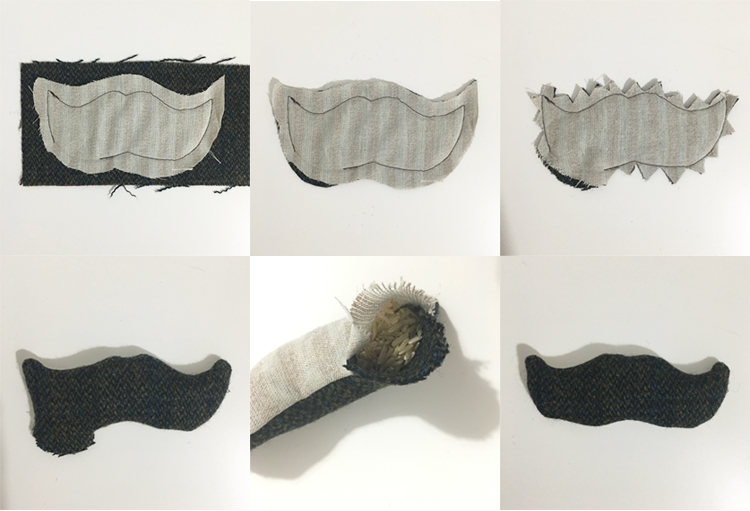DIY tweed moustache handwarmer - tutorial 2