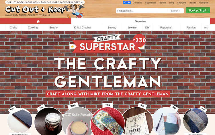 """I was named a """"Crafty Superstar"""" by Cut Out + Keep, and had a week-long feature on their website."""