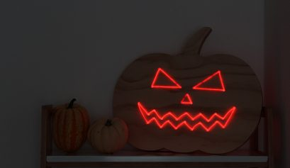 DIY wooden pumpkin with neon lights Halloween decoration