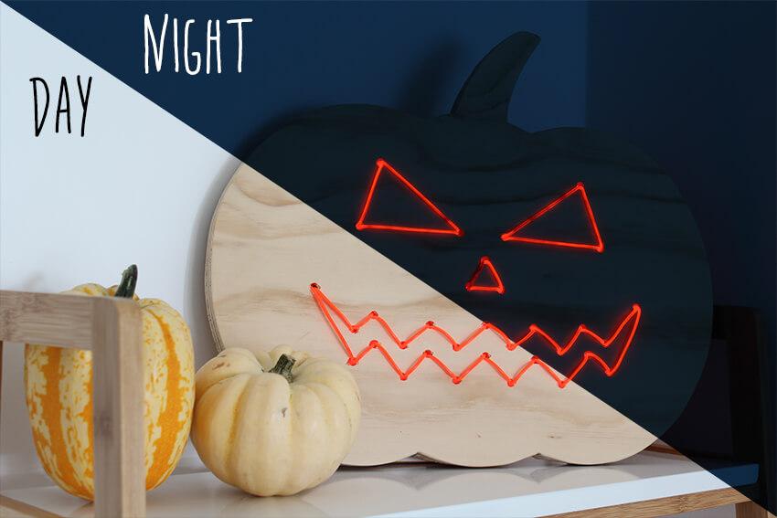 DIY wooden pumpkin with neon lights Halloween decoration