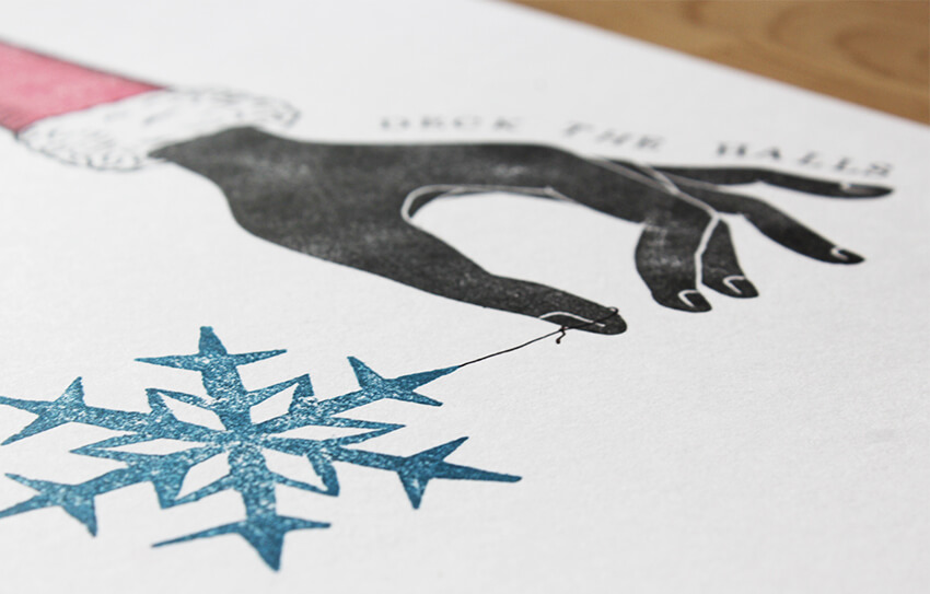 Christmas Lino print designs, hand-printed art, Etsy UK