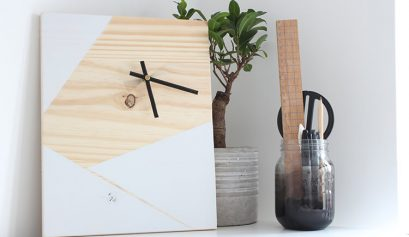 DIY geometric clock made from wood