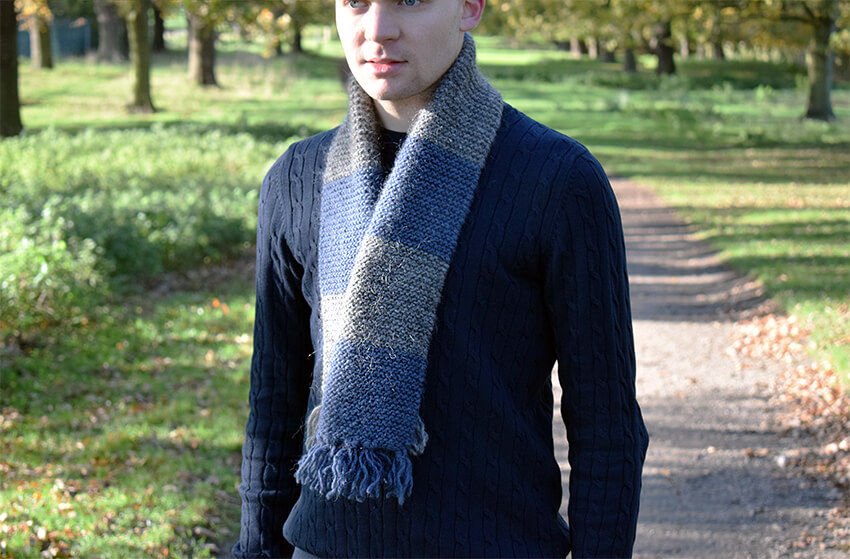 Easy mens scarf knitting pattern with striped detail | The Crafty ...