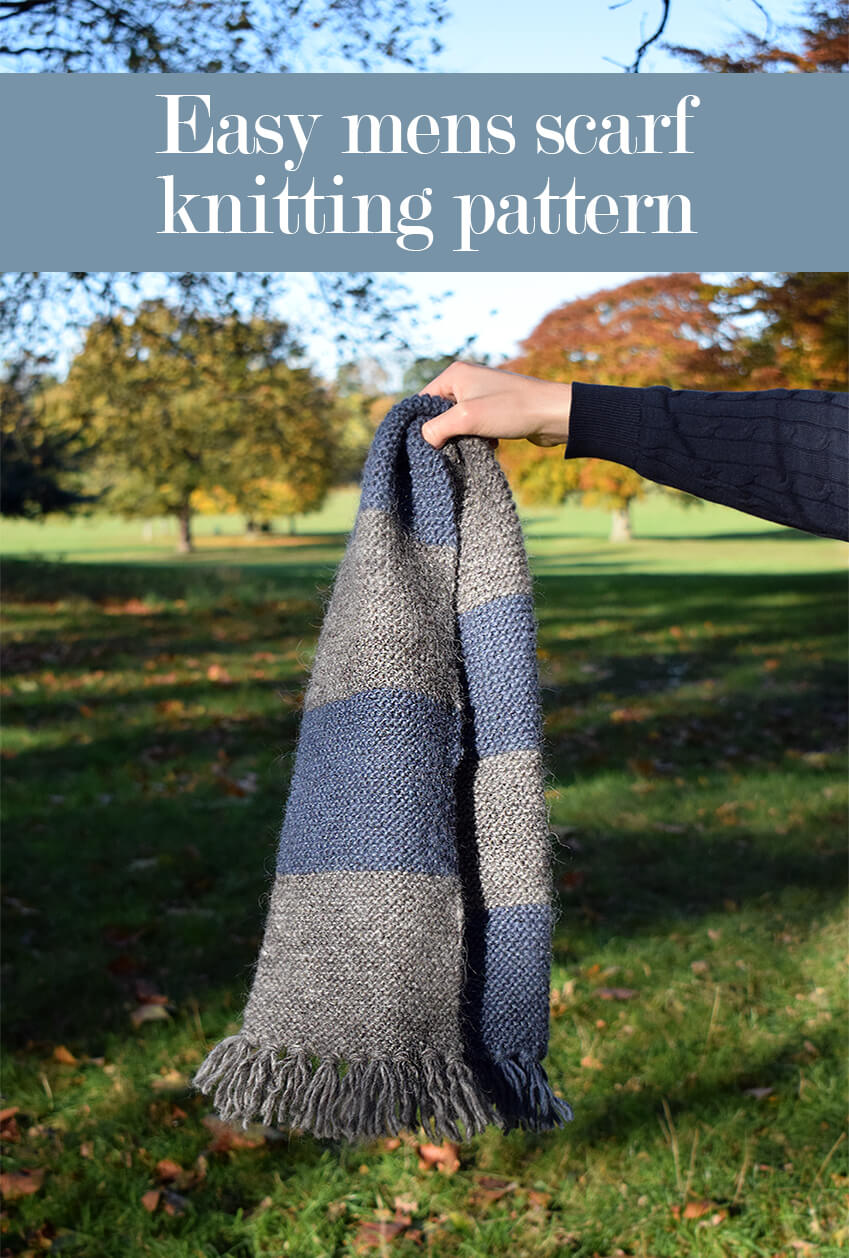 Easy mens scarf knitting pattern - Click for more