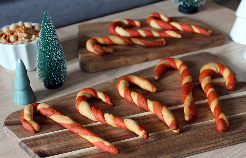 Candy Cane Christmas breadsticks recipe - Christmas party food