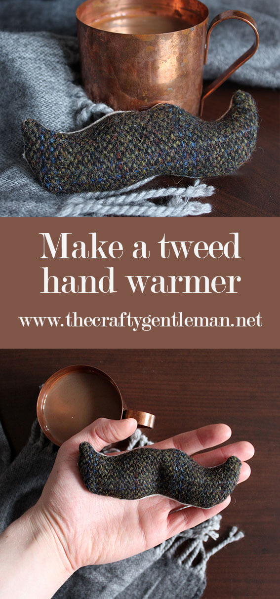 Learn how to make a DIY tweed hand warmer. Moustache shape is optional! Click through for this and more sewing projects.