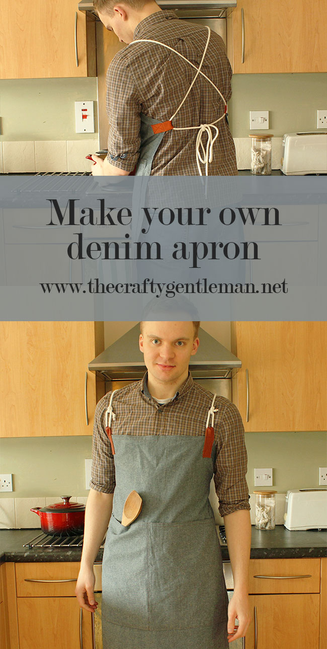 Learn how to make your own Denim and Leather Apron. Click through for this and more sewing craft projects
