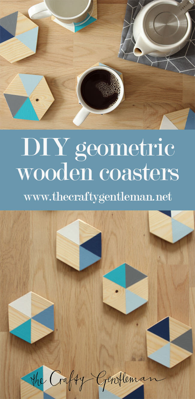 These geometric wooden coasters are so easy to make. Click through to see this and more home decor DIY projects