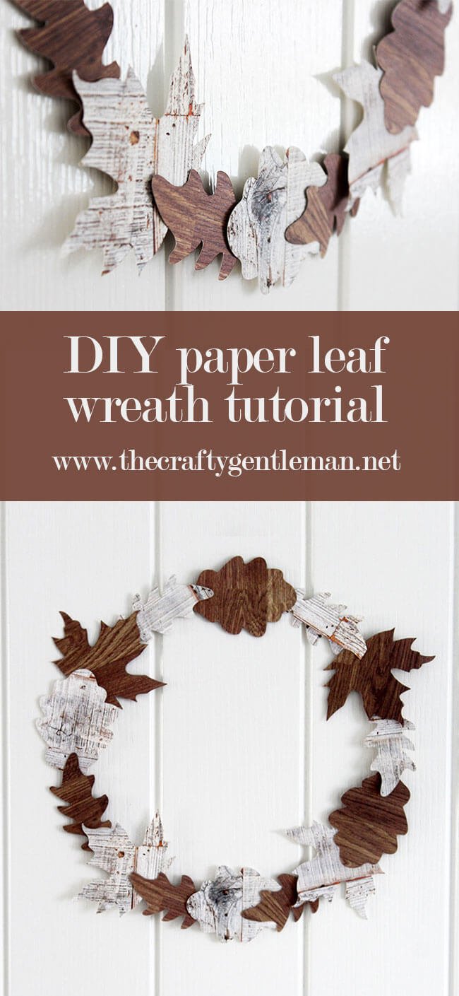 This minimal paper leaf wreath is a great way to add some seasonality to your home decor. Learn how to make it in this really easy tutorial - click through for more.