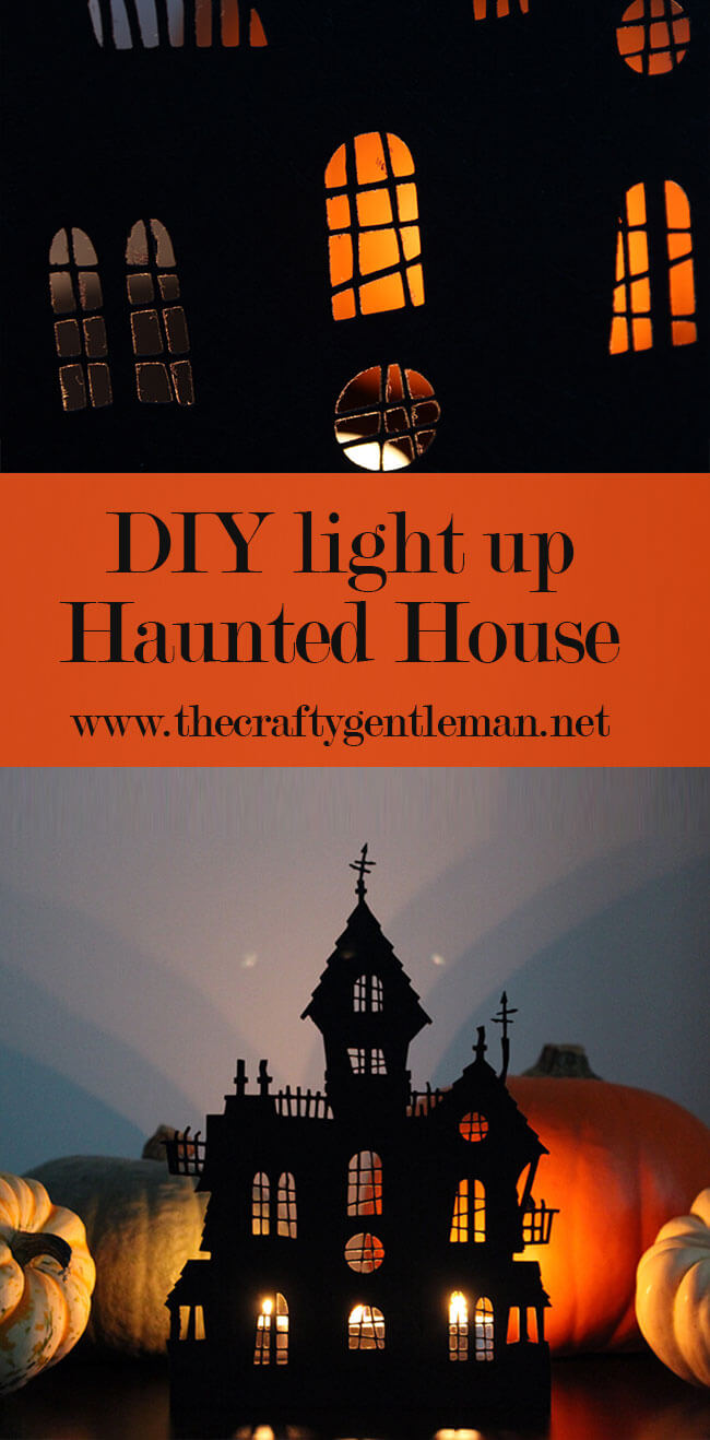 This spooky paper cut Haunted House decoration can be back lit with tea light candles, for an eerie glow! Learn how to make it on my blog now - click through for this and more Halloween crafts