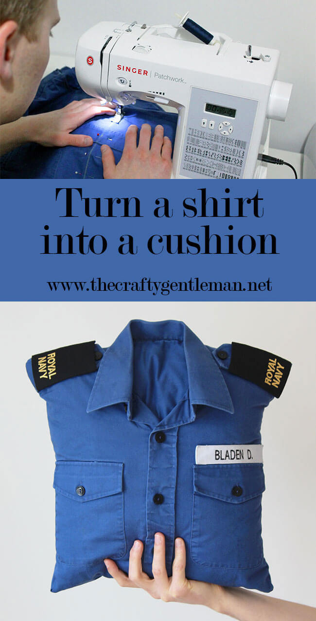How to turn a shirt into a cushion cover. Full step-by-step tutorial for how to make a cushion from a shirt. DIY and crafts blog.
