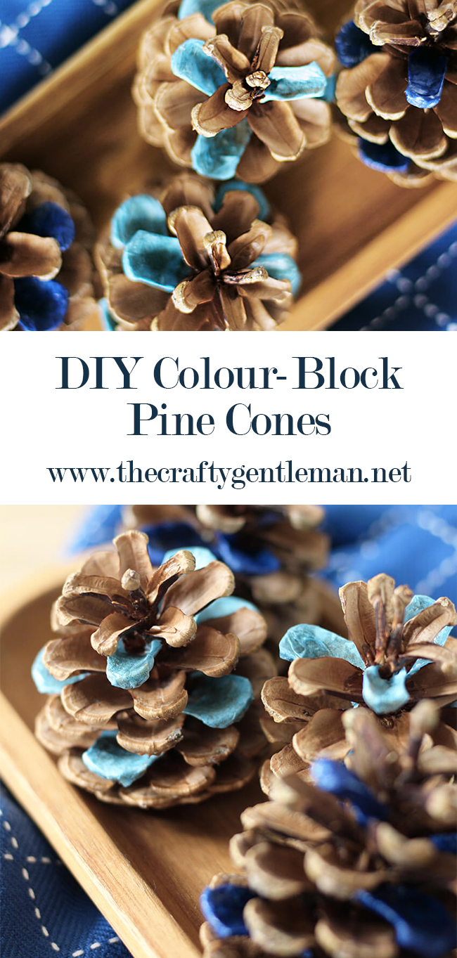 DIY decopage blue colour-block pine cones. Perfect autumn craft or fall decor idea. #pinecone #autumn #fall #decor #crafts #diy #decoupage #blue