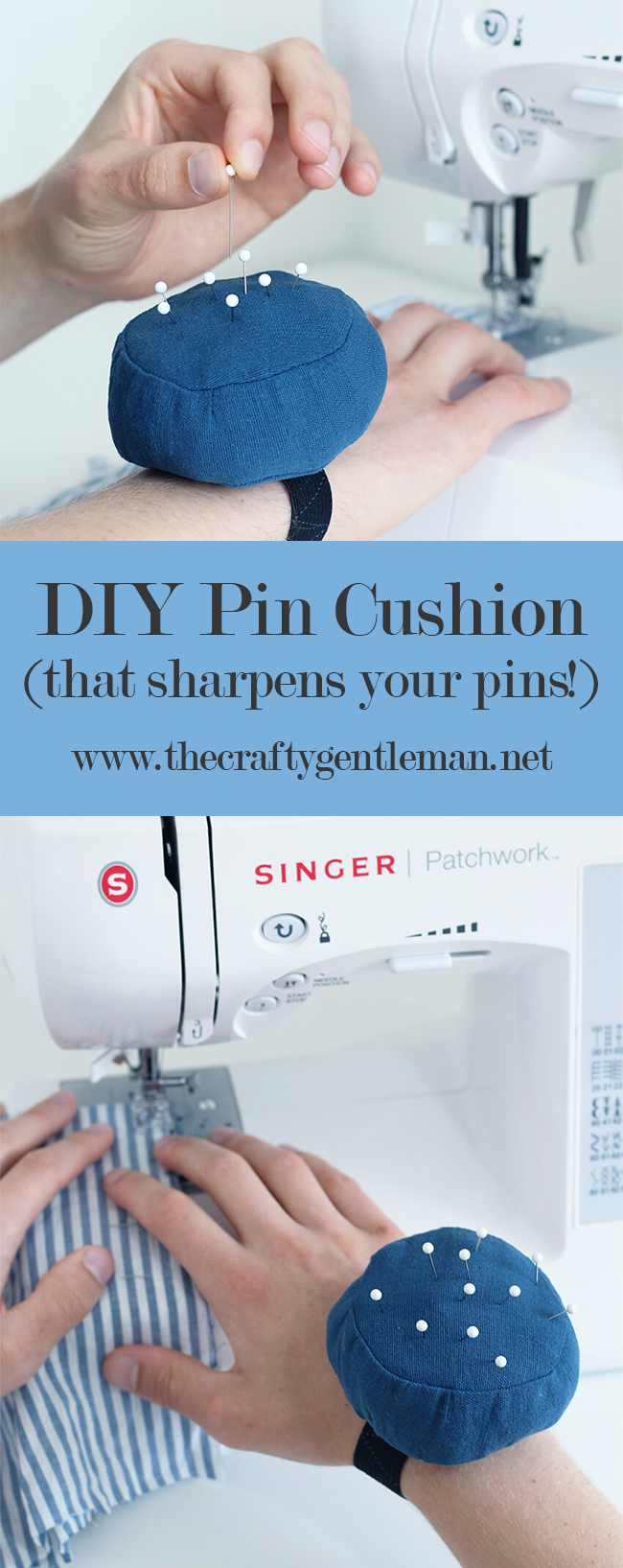 Sew a DIY wrist pincushion that sharpens your needles with wire wool, as you use it | Click through for full tutorial | #crafts #sewing #tutorial #diy #pincushion