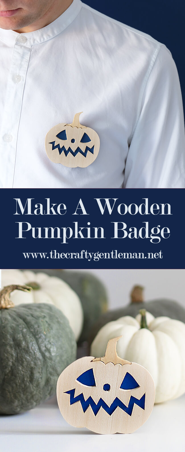 How to make a Wooden Pumpkin Pin Badge | Easy Halloween Crafts | Cricut Maker craft projects | Click through for more