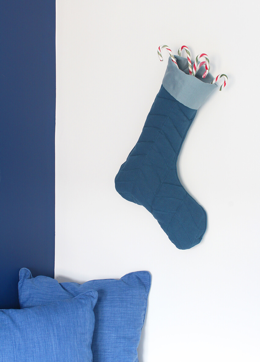 Learn how to sew your own Herringbone Quilted Stocking for Christmas - Christmas Crafts by The Crafty Gentleman