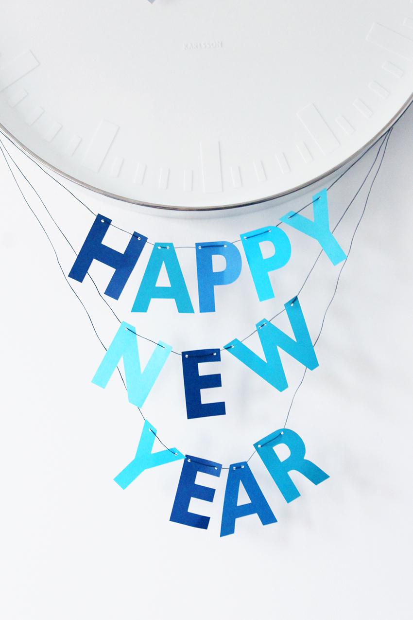 Happy New Year Garland Cricut blue