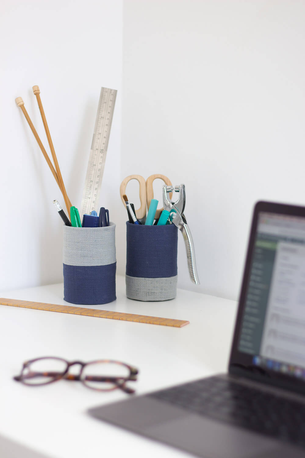 Upcycled Fabric Desk Tidy No Sew The Crafty Gentleman