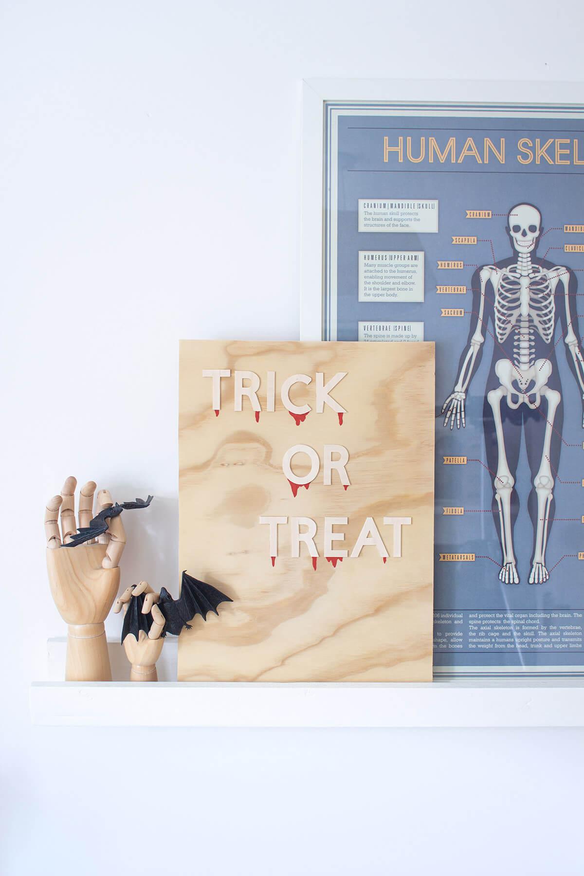 "Trick or Treat"" wooden DIY Halloween decoration"