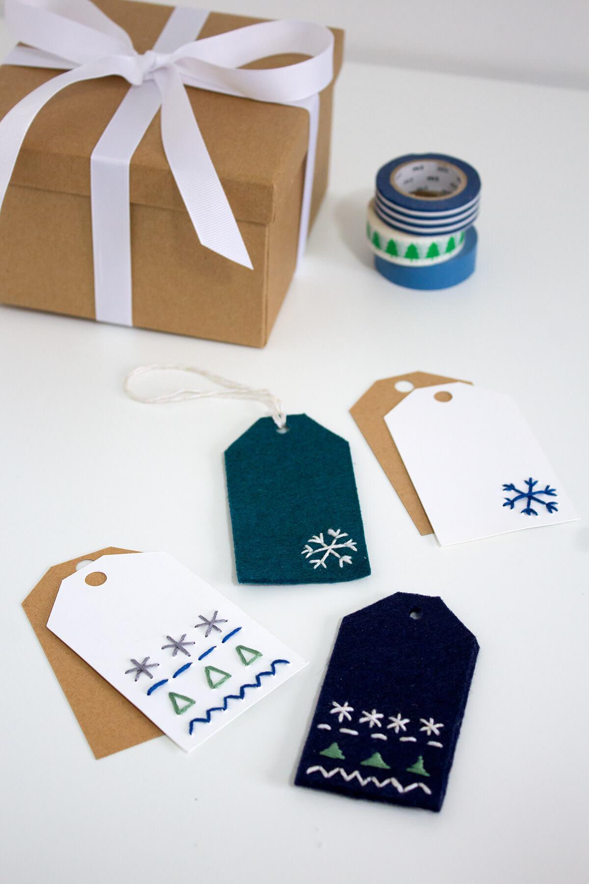 Reusable Embroidered Gift Tags With Free Printable
