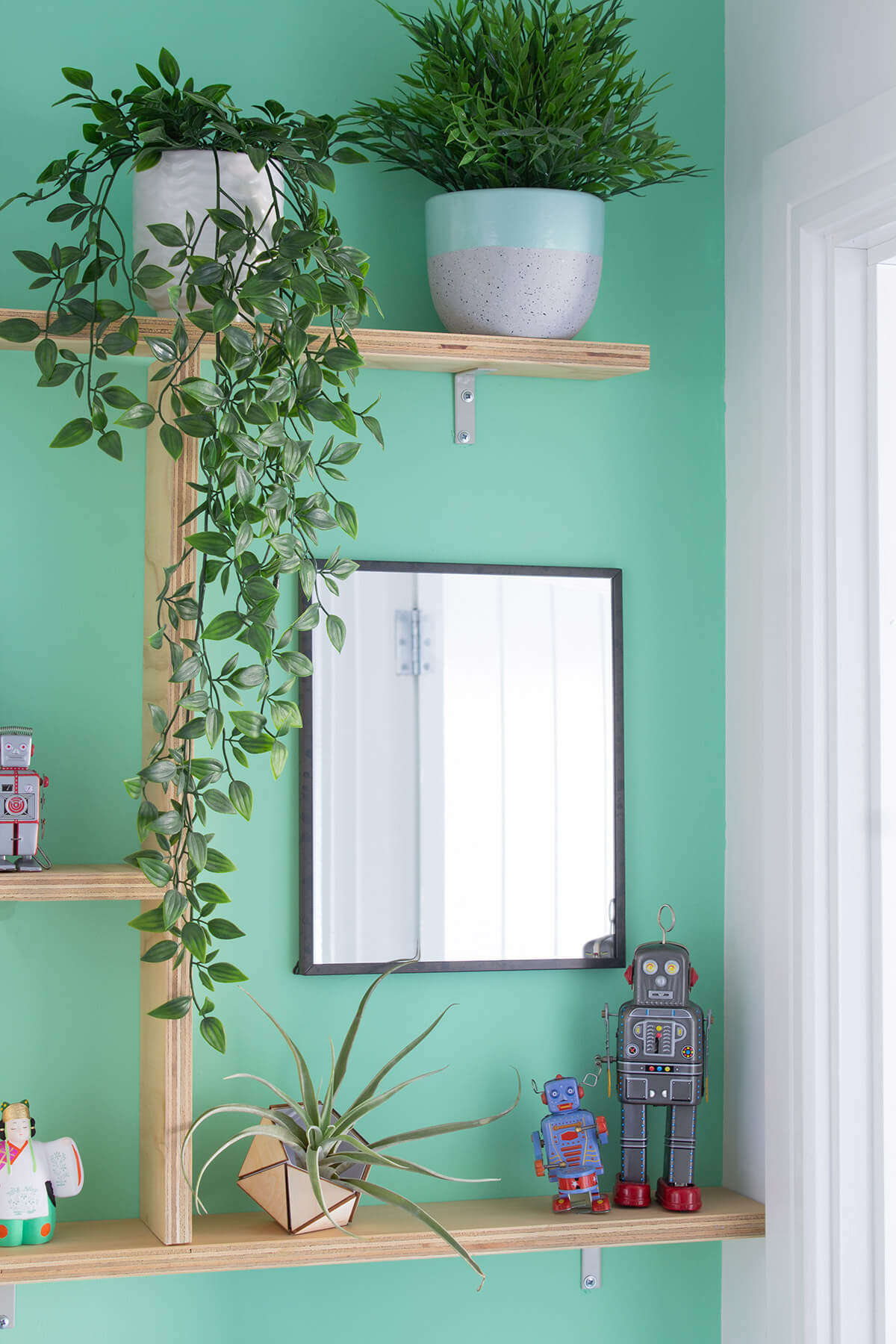 Room Refresh Mint Green Accent Wall With Plywood Shelves The Crafty Gentleman